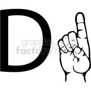 ASL sign language D clipart illustration worksheet . Royalty.