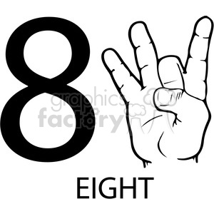 ASL sign language 8 clipart illustration worksheet . Royalty.