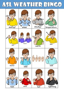 ASL (American Sign Language) Weather Bingo.