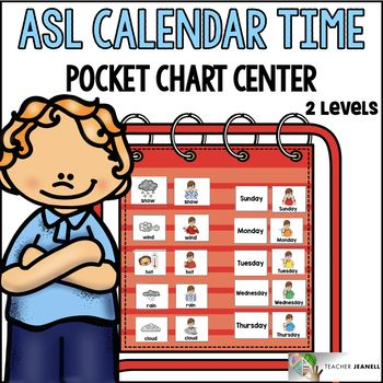 ASL American Sign Language Calendar Time Pocket Chart Center.