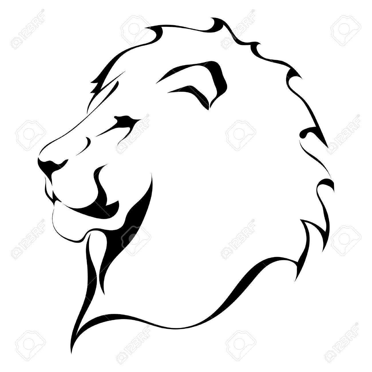 lion drawing with crown.