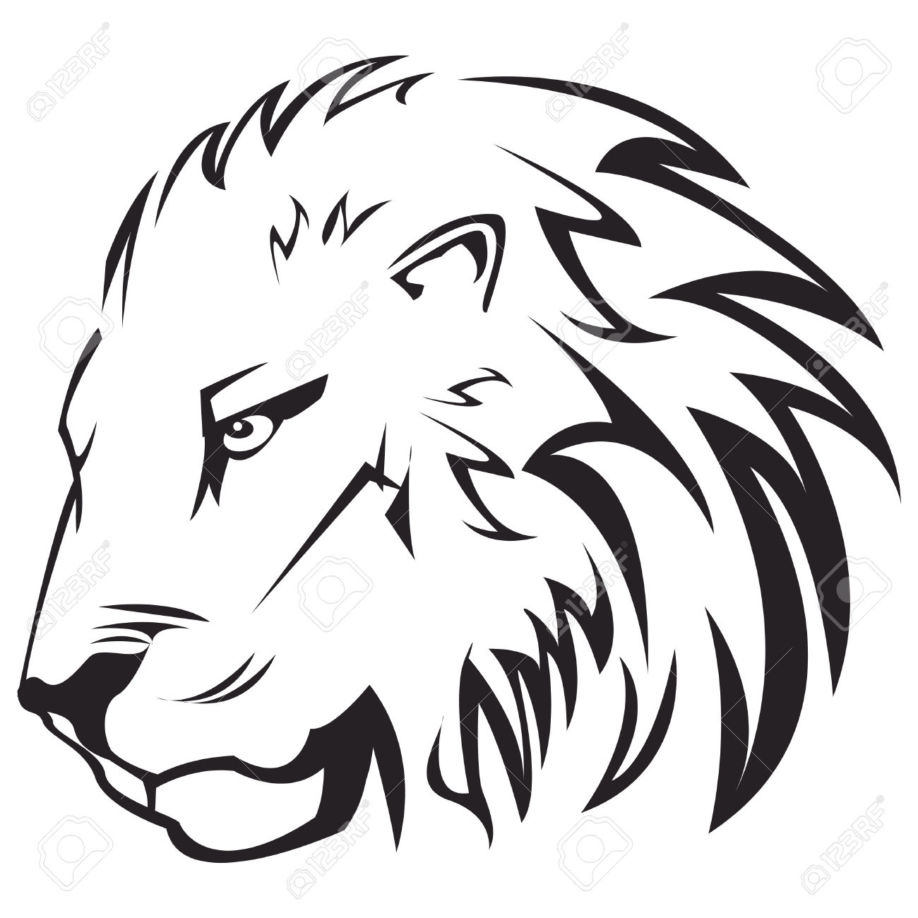Simple Lion Outline Tattoo.