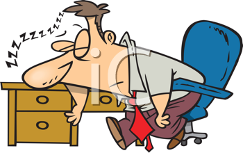 Royalty Free Clipart Image of a Guy Sleeping at His Desk.