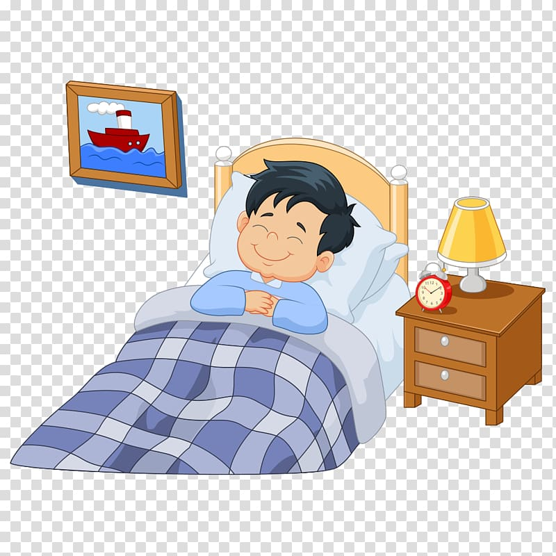 Boy sleeping on bed smiling artwork, A Girl Asleep Cartoon.