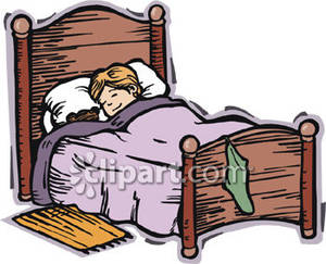Child Sleeping In Bed Clipart.