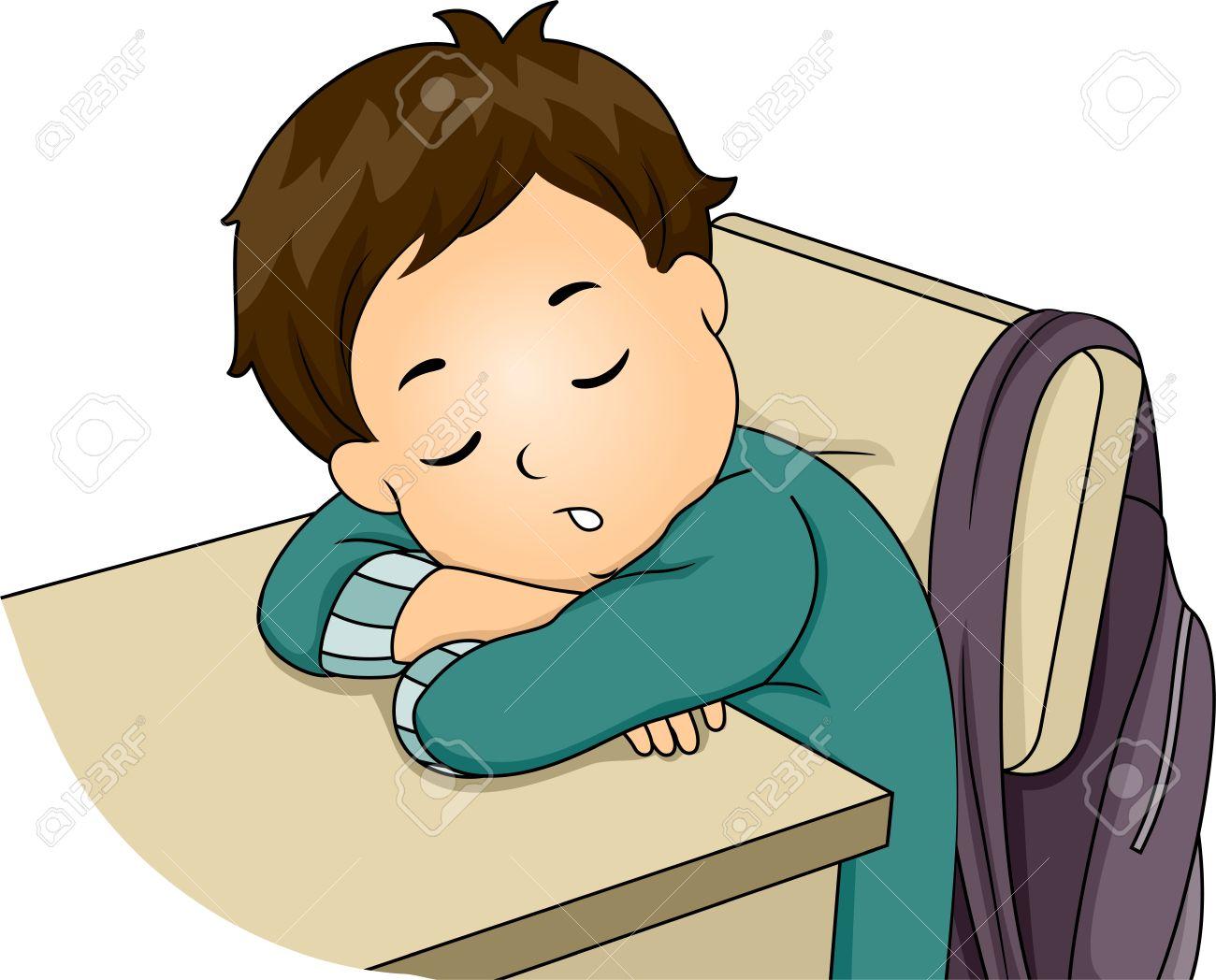 Illustration Featuring a Little Boy Sleeping in Class.