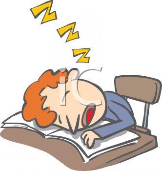 Kid Falling Asleep In Class Clipart.