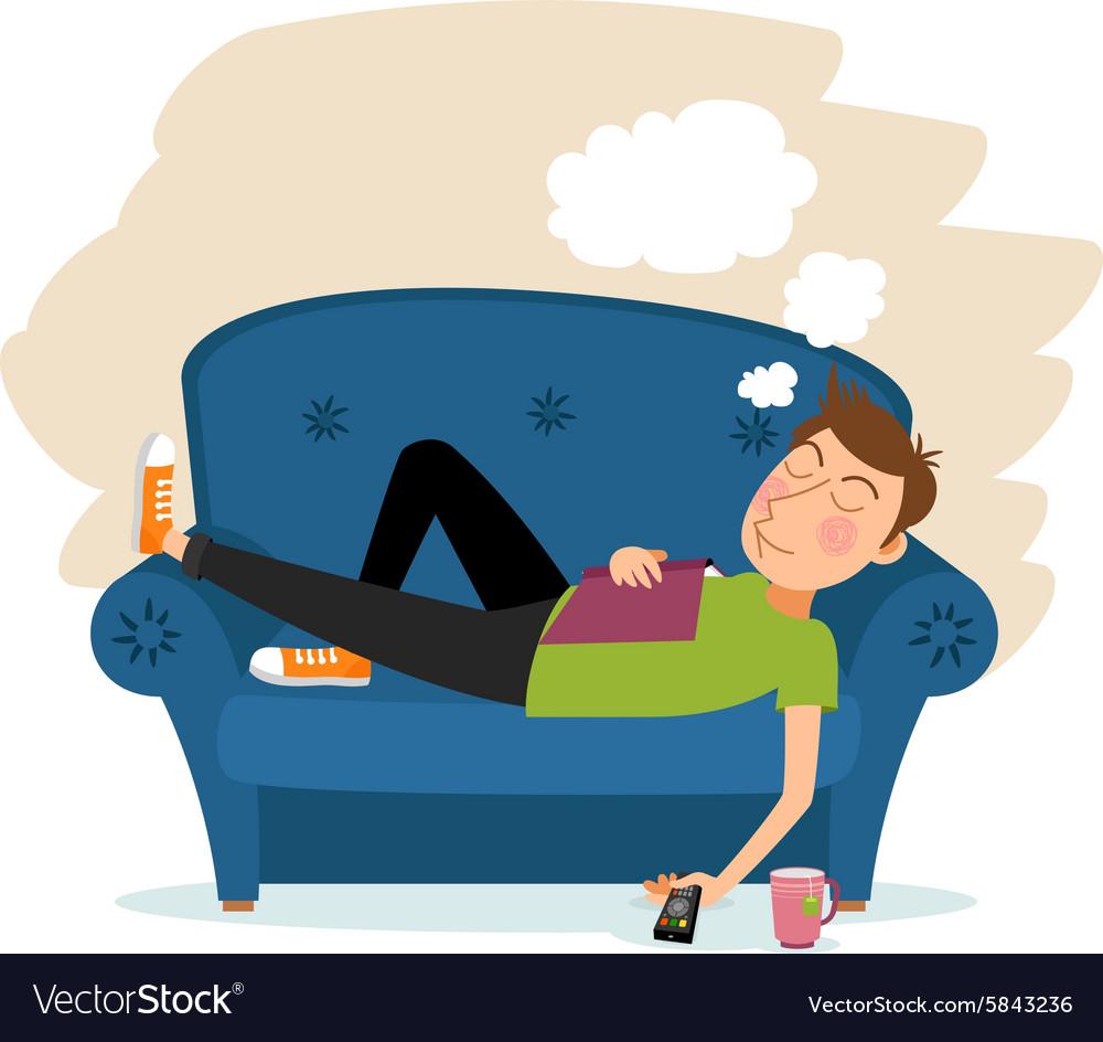 Man sleep on sofa.