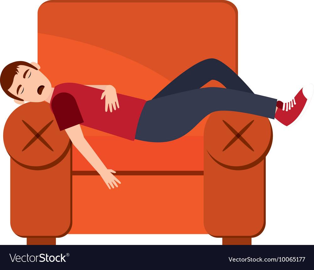 Person sleeping on sofa icon.