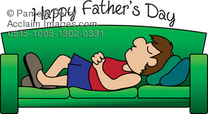 Clip Art Image of a Cartoon of a Dad Sleeping on a Couch.