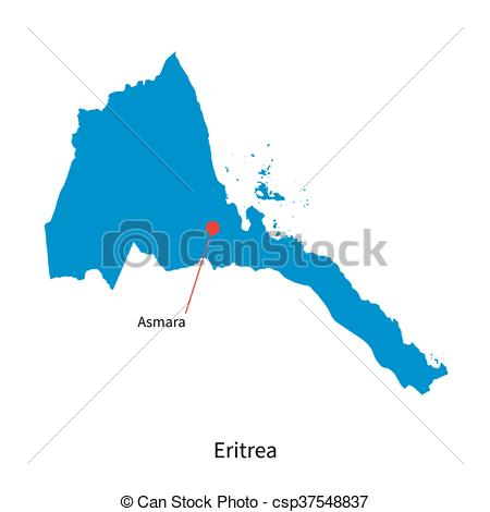 Vectors of Detailed vector map of Eritrea and capital city Asmara.