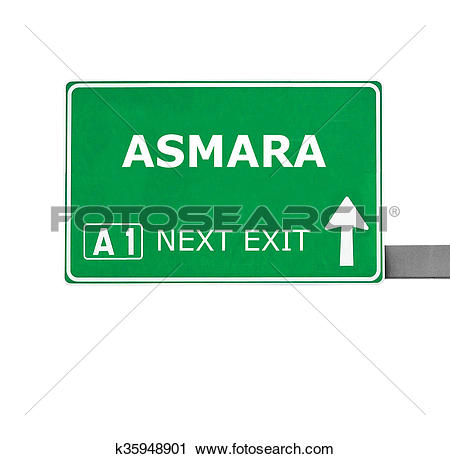 Clipart of ASMARA road sign isolated on white k35948901.