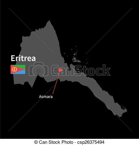 EPS Vectors of Detailed map of Eritrea and capital city Asmara.