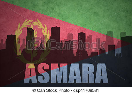 Pictures of abstract silhouette of the city with text Asmara at.