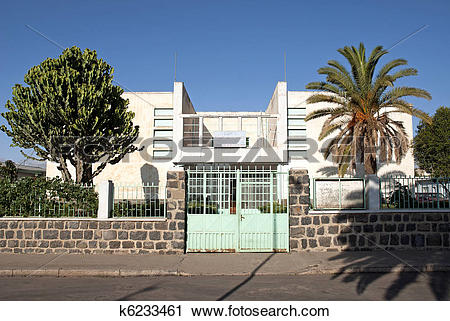 Stock Photography of italian colonial art deco architecture in.