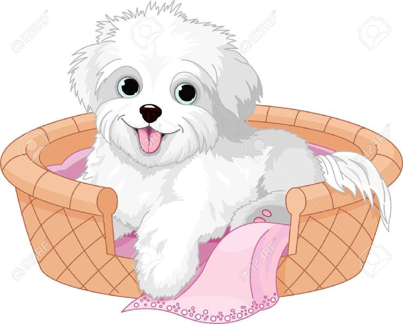 Fluffy White Puppy Clip Art.