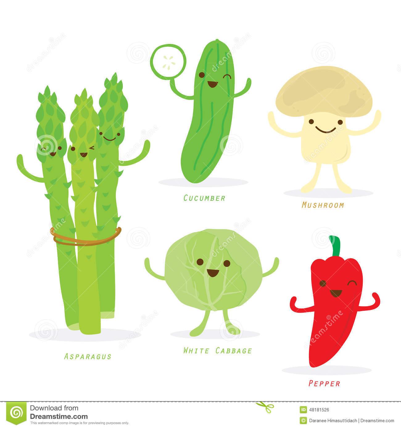 Vegetable Cartoon Cute Set Asparagus Cucumber Pepper Cabbage.