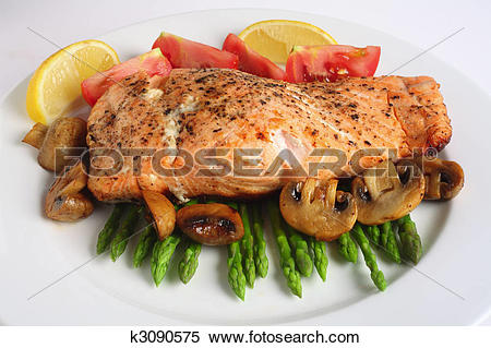 Stock Image of Pan fried salmon, asparagus and mushrooms k3090575.