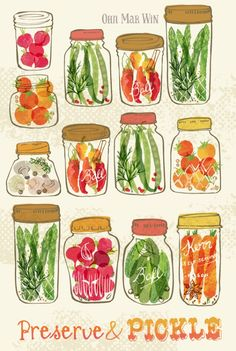 Pickled Vegetables green beans tomatoes radish chili asparagus.