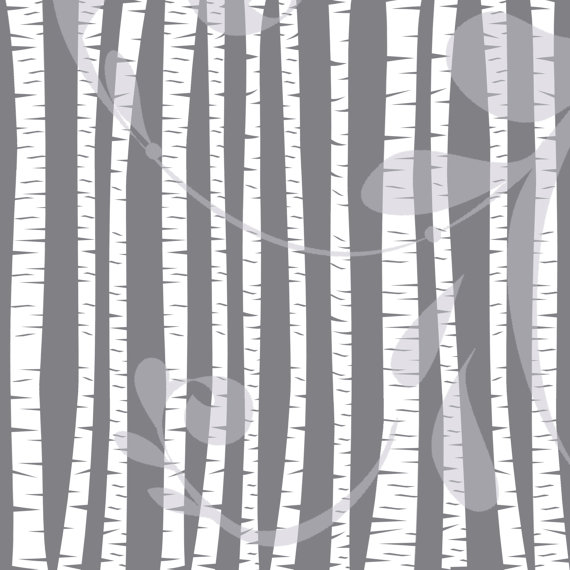 Birch and Aspen Trees Clipart White Forest by Corinnerelly.