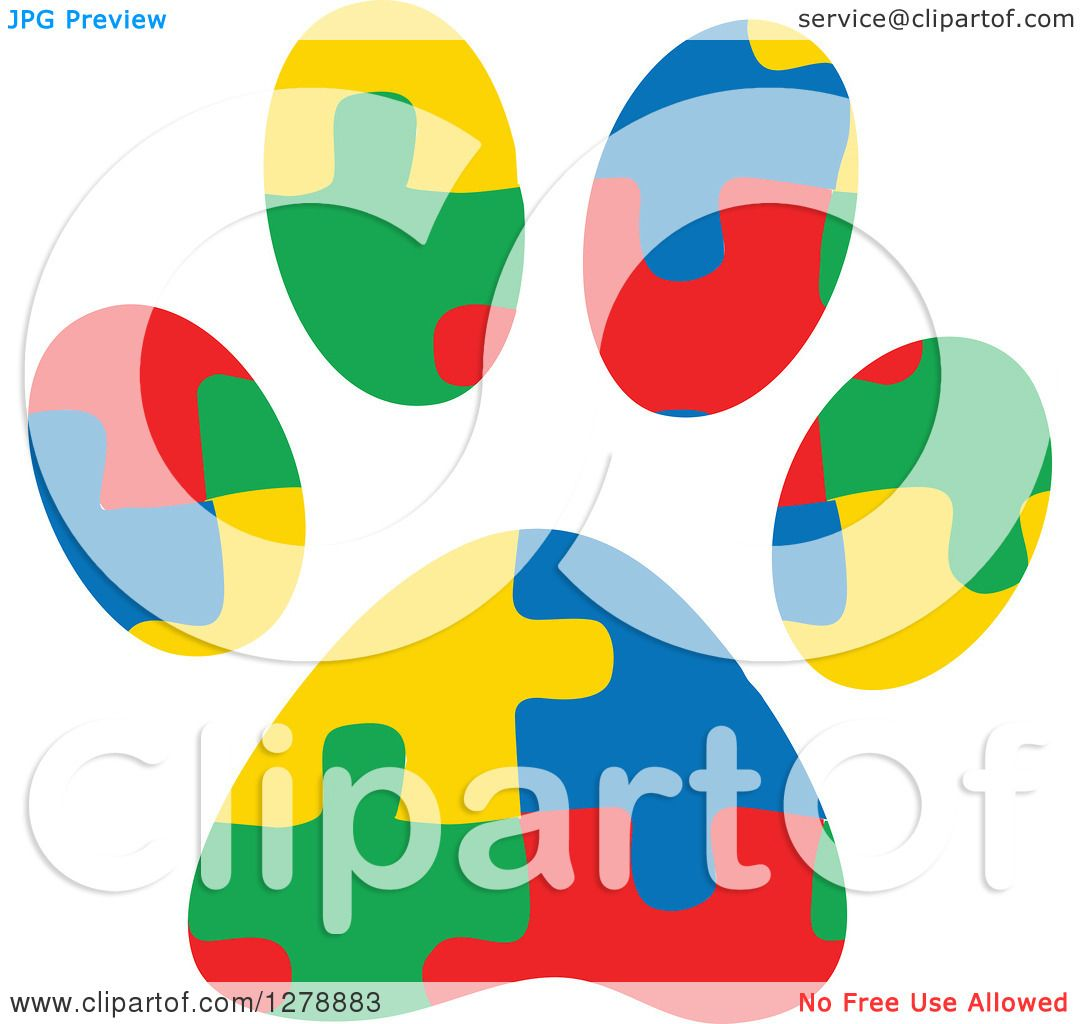 Clipart of a Colorful Jigsaw Puzzle Aspergers Autism Service Dog Paw.