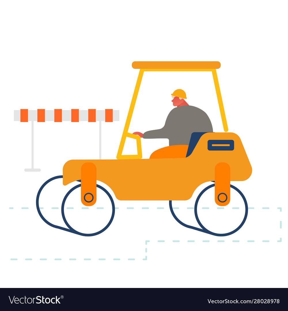 Builder driving asphalt paving roller machine at.