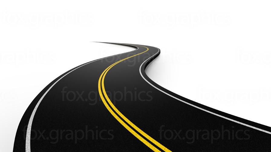 Asphalt road on white (PNG).