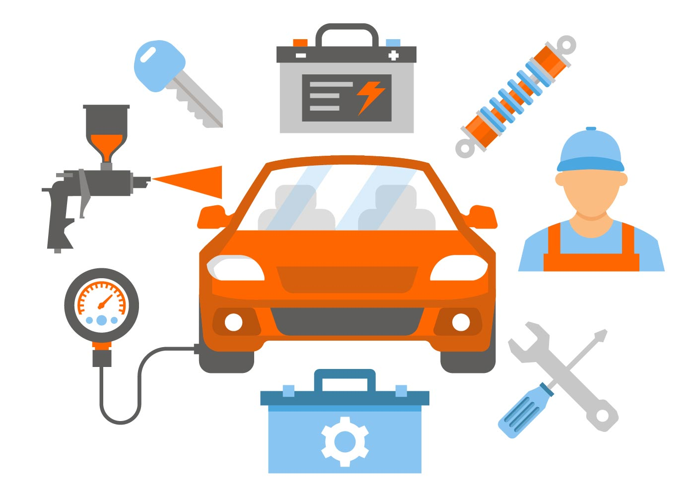 Car Repair and Service Vector Illustration.