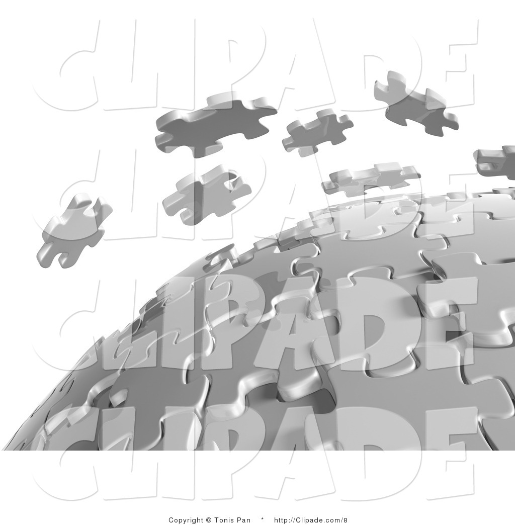 Clip Art of a 3d White Puzzle Pieces Floating over a Spherical.
