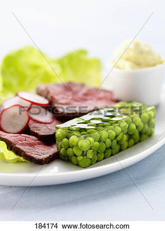 Stock Photo of Cold roast beef with peas in aspic 184174.