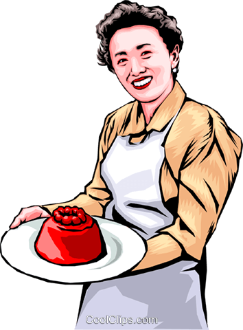 Woman with aspic Royalty Free Vector Clip Art illustration.
