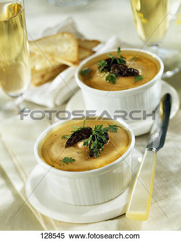 Stock Image of Chicken mousse individual aspic terrines with.