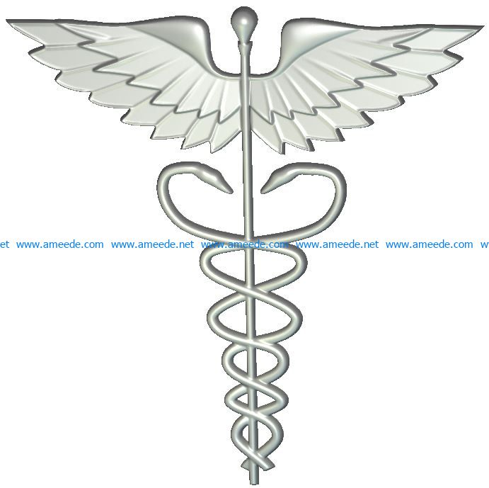 US Medical Service Emblem wood carving file RLF for Artcam 9.