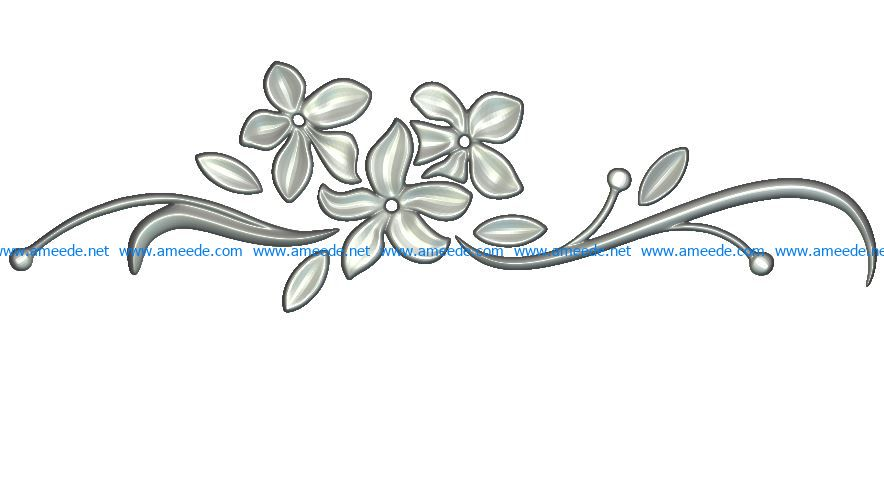 Flower decor wood carving file RLF for Artcam 9 and Aspire.