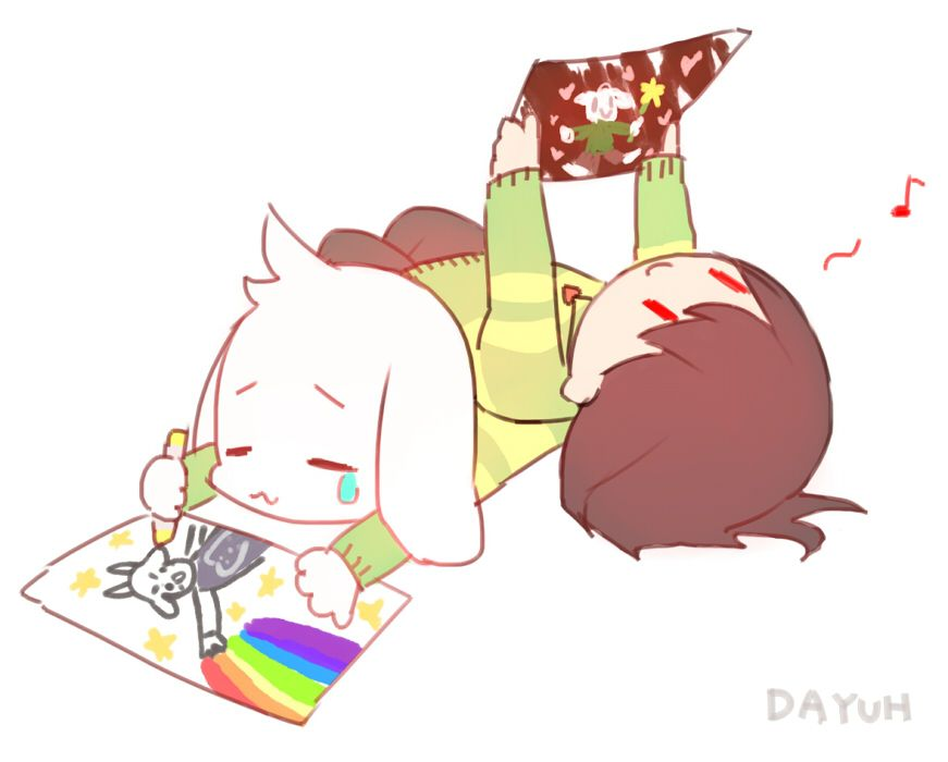 Can I have your image of chara and Asriel drawning.