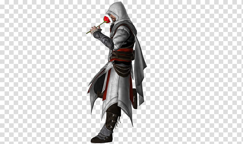 Ezio with rose , Assassin\'s Creed character transparent.