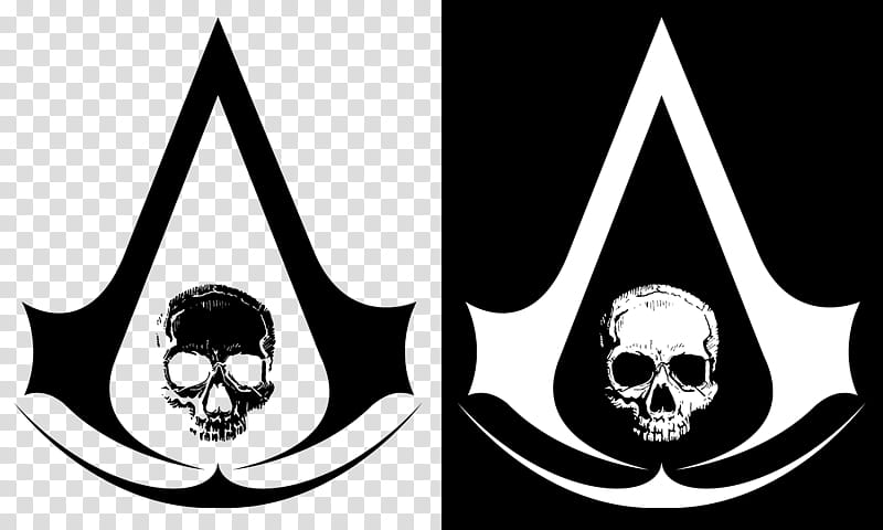 Assassin Creed Black Flag Skull Logo, black and white skull.