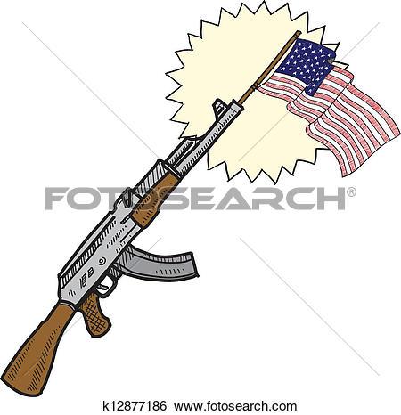 Clip Art of America loves assault rifles sketch k12877186.