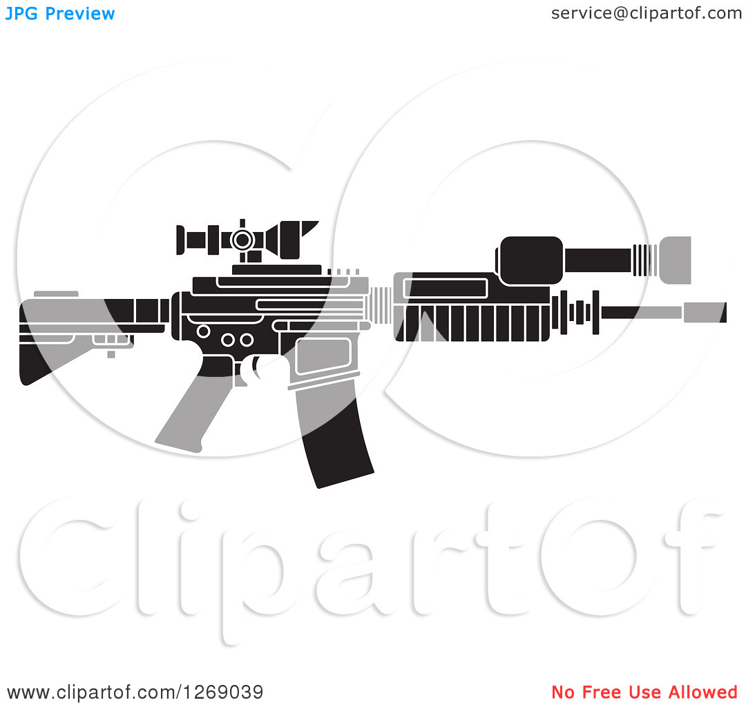 Clipart of a Black and White Assault Rifle with a Scope.