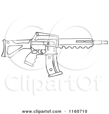 Cartoon of an Outlined Semi Automatic Assault Rifle with a Clip.