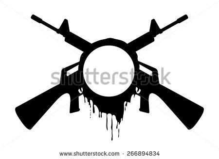 Assault rifle silhouette clipart.