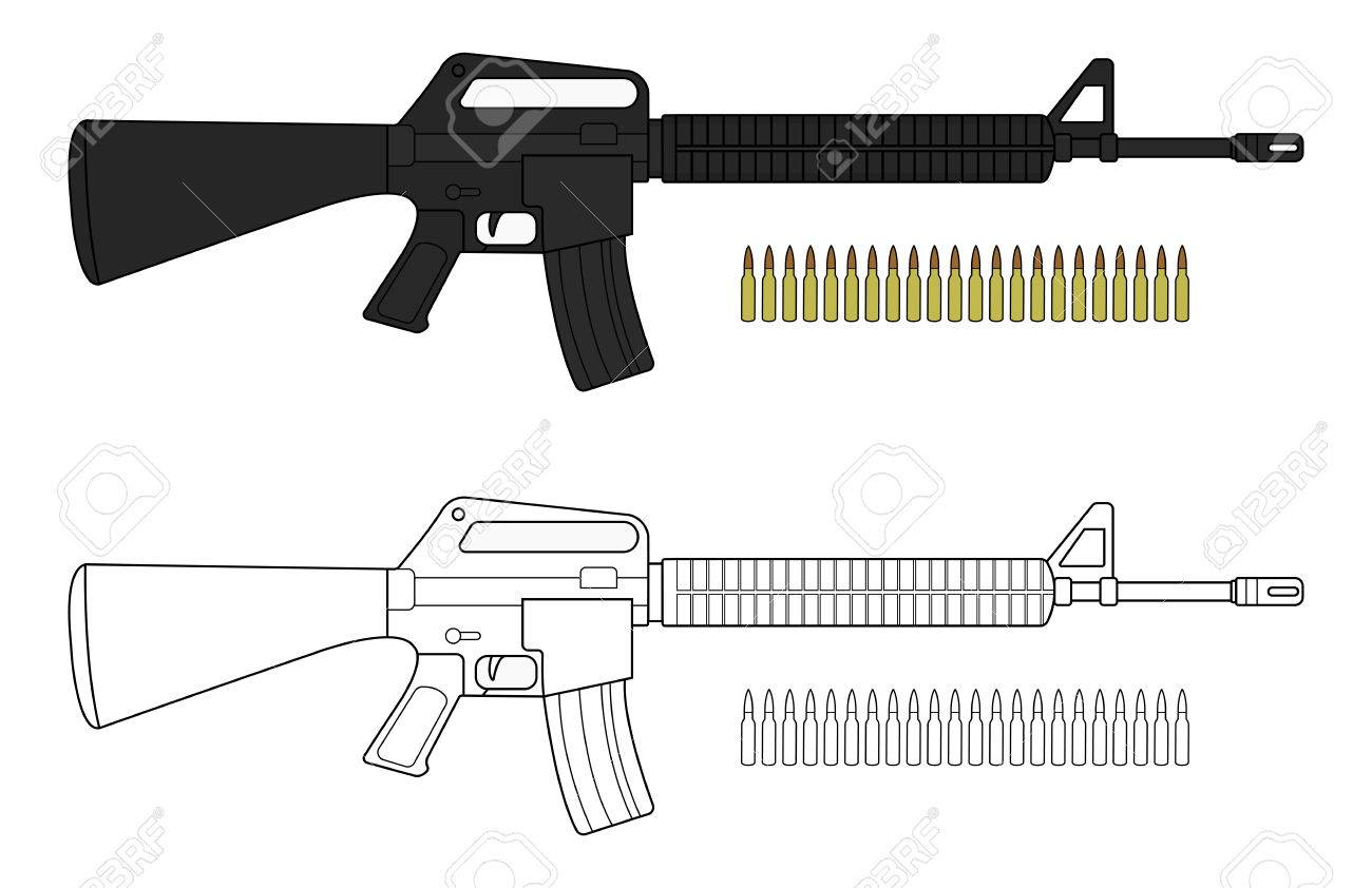 Assault rifle with bullets. Video game resources. Vector clip...