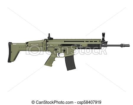 Army green modern assault rifle.