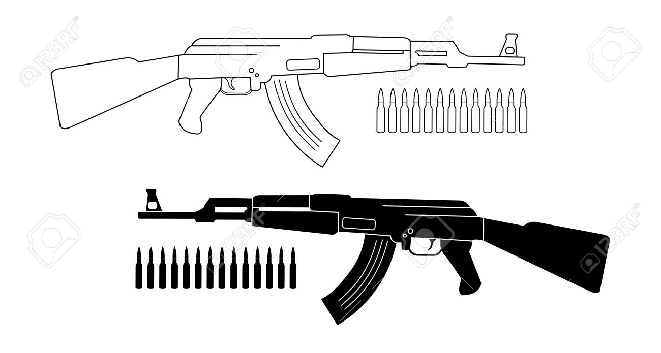Assault rifle with bullets. Game resources. Vector contour lines...