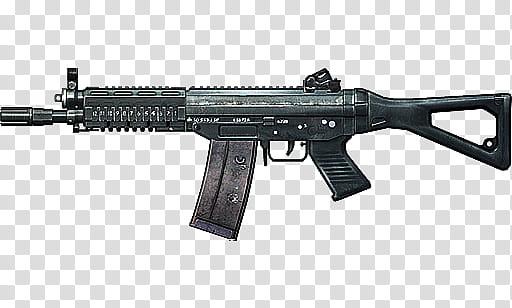 Battlefield Weapons Render, black assault rifle transparent.