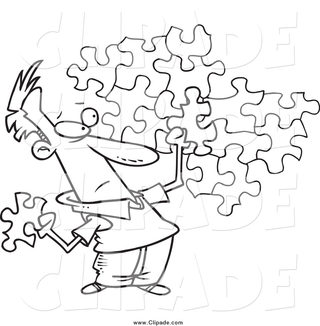 Clip Art of a Black and White Guy Trying to Assemble a Puzzle by.