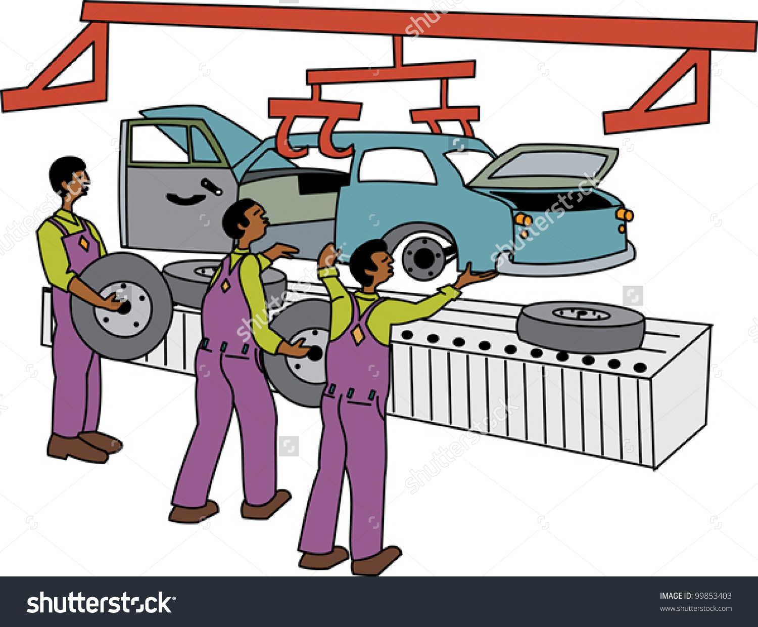 Assemble car clipart.