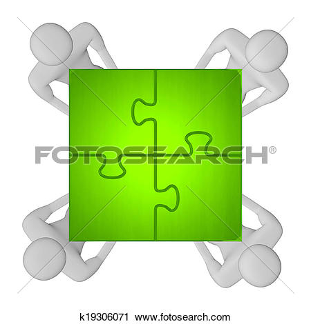Clipart of 3d people with assembled green puzzle top view.