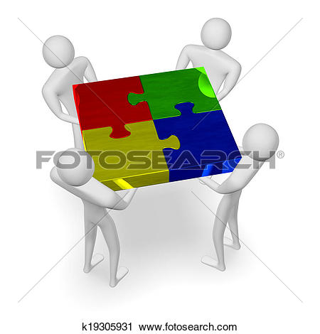 Clipart of 3d people holding assembled multicolor puzzle k19305931.
