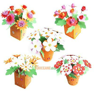3D HANDMADE EVA Flower Pot Educational Toy Kids DIY Craft.